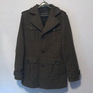 Green Wool Express Pea Coat Jacket